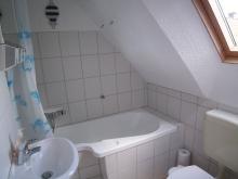 Badezimmer der Ferienwohnung 1 mit Atelier-Schleiblick
