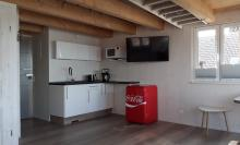 Küchenbereich der neuen Ferienwohnung 4 im Obergeschoss des Anbaus